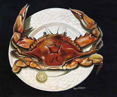 Crab  On Plate Art Print by Phyllis Beiser