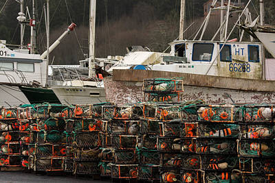 Dry Felt Photograph - Crab Pots And Fishing Boats by Kevin Felts