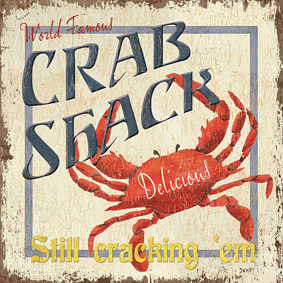 Red Wall Art - Painting - Crab Shack by Debbie DeWitt