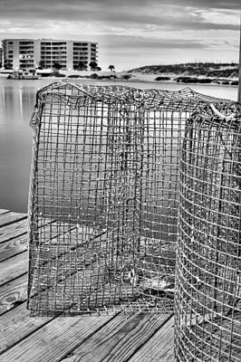 Photograph - Crab Traps Black And White by JC Findley
