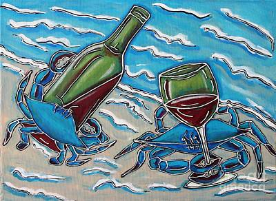 Painting - Crab Wine Time by Cynthia Snyder