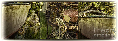 Woven Wire Photograph - Crabbing Relics by Jean OKeeffe Macro Abundance Art