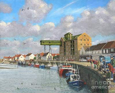 Norfolk Wall Art - Painting - Crabbing Wells Next The Sea Norfolk by MGL Meiklejohn Graphics Licensing