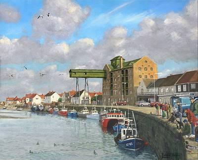 Wells Harbor Painting - Crabbing - Wells-next-the-sea Norfolk by Richard Harpum