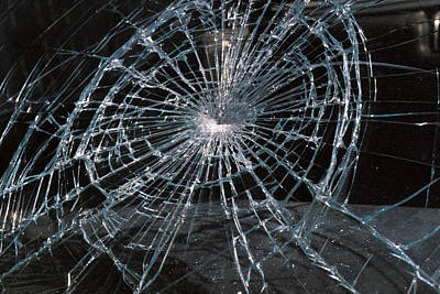 Cracked Glass Of Car Windshield Art Print by Anonymous