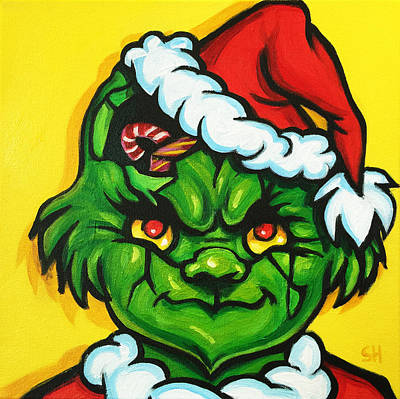Dr. Seuss Painting - Cracked Grinch by Steve Hunter