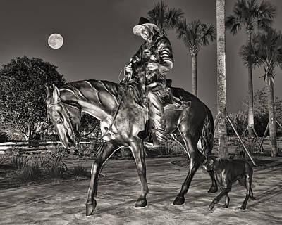 Cracker Cowboy And Full Moon Art Print by Betty Eich