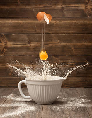 Flour Photograph - Cracking The Egg by Amanda Elwell