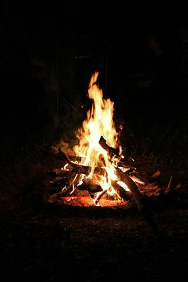 Fire Photograph - Crackling Bush Campfire by StaJa Photography