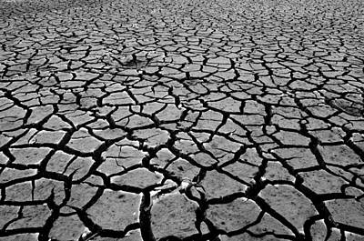 Dry Lake Photograph - Cracks For Miles Black And White by Teri Schuster