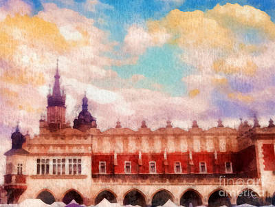 Gouache Painting - Cracow Cloth Hall by Mo T