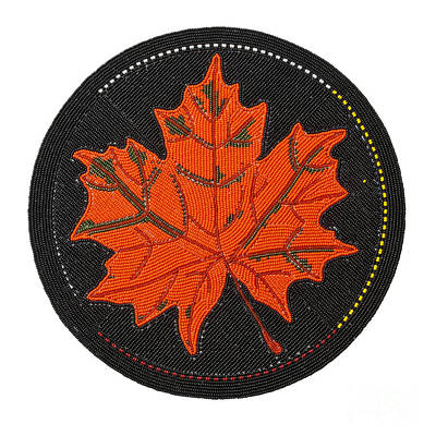 Beadwork Mixed Media - Cradleboard Beadwork Fall Maple Leaf by Douglas K Limon