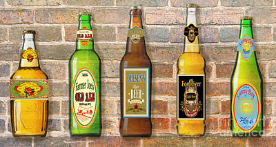 Craft Beer Collection On Brick Original by Jean Plout