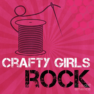 Girls Mixed Media - Crafty Girls Rock by Linda Woods