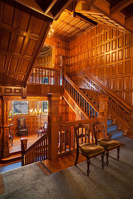 Woodwork Photograph - Craigdarroch Castle Stairwell by Mike Reid