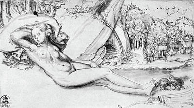 Drawing - Cranach Nymph by Granger