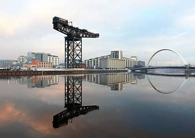 Photograph - Crane And Bridge Reflection  by Grant Glendinning