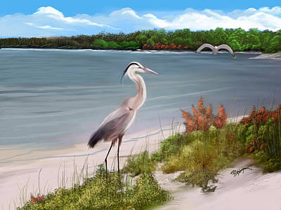 Crane By The Sea Shore Art Print by Anthony Fishburne