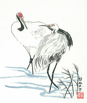 Crane Couple Art Print