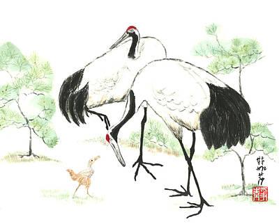 Crane Family Art Print