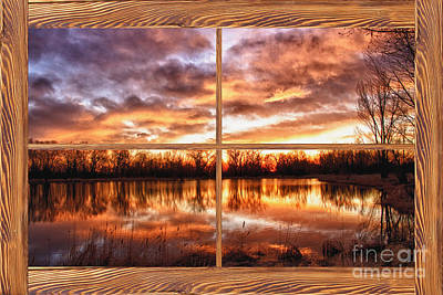 Sunrise Photograph - Crane Hollow Sunrise Barn Wood Picture Window Frame View by James BO  Insogna