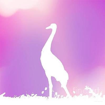 Digital Art - Crane In Soft Purple by Anita Lewis