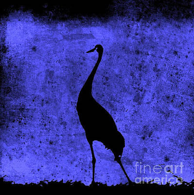 Photograph - Crane In Vintage Blue by Anita Lewis