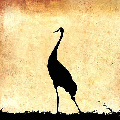 Photograph - Crane In Vintage Gold by Anita Lewis