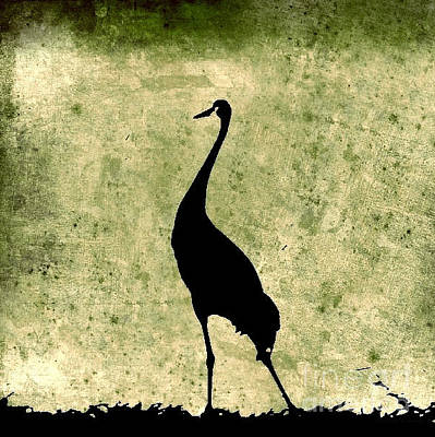 Photograph - Crane In Vintage Green by Anita Lewis