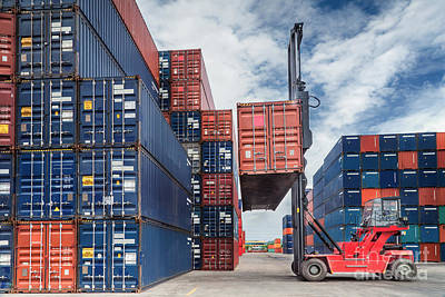 Crane Lifter Handling Container Box  Art Print