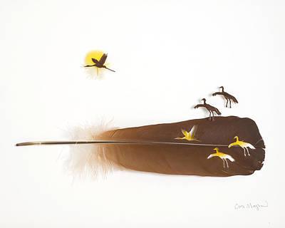 Crane Mixed Media - Cranes Flying by Chris Maynard