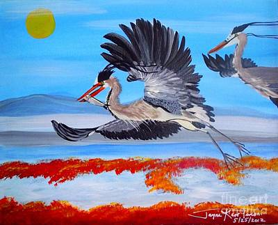 Painting - Cranes In Flight by Jayne Kerr