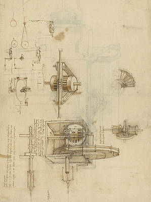 Reproduction Drawing - Crank Spinning Machine With Several Details by Leonardo Da Vinci