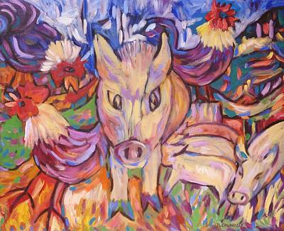 Painting - Cranky Sow Suckers And Coqs by Dianne  Connolly