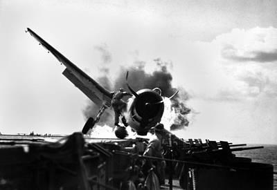 Grumman F6f Hellcat Photograph - Crash Landing Of A Hellcat Fighter by Everett