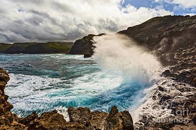 Crystal Photograph - Crash - Large Wave On The Rugged West Coast Of Maui. by Jamie Pham