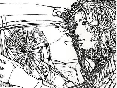 Windshield Drawing - Crash Test Annie by Kathleen Bischoff