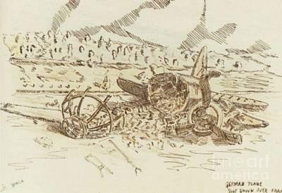 Ww Ii Drawing - Crashed German Plane by David Neace