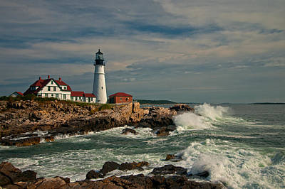 Photograph - Crashing At The Portland Head Light House by Paul Mangold