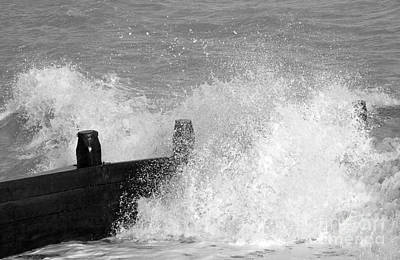 Black And White Photograph - Crashing Sea Wave - Black And White by Natalie Kinnear