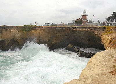 People Watching Photograph - Crashing Surf Near The Lighthouse by Ron Regalado