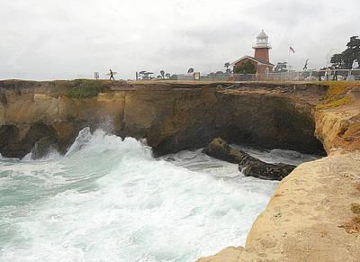 Crashing Surf Near The Lighthouse Print by Ron Regalado