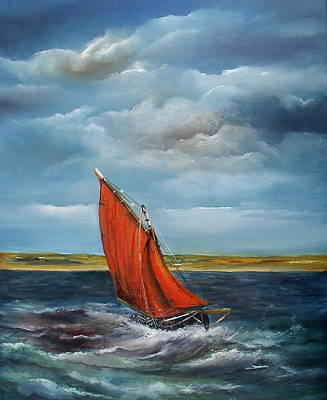 Currach Painting - Crashing The Atlantic Galway Hooker by Donna McGee