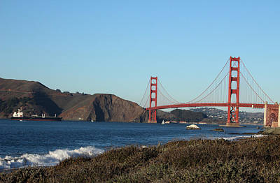 Office Art Photograph - Crashing Waves And The Golden Gate Bridge by Linda Woods