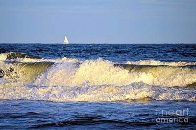 Photograph - Crashing Waves And White Sails by Sharon Woerner