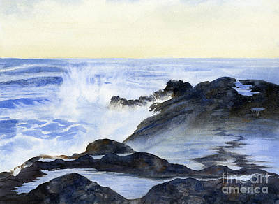 Crashing Wave Painting - Crashing Waves On Rocks by Sharon Freeman