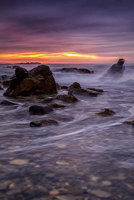 Photograph - Crashing Waves Under Stormy Skies Wallis Sands Nh by Jeff Sinon