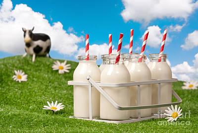 Friesian Photograph - Crate Of Milk Bottles by Amanda Elwell
