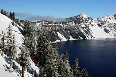 Snow-covered Landscape Photograph - Crater Lake After Snow, Crater Lake by Michel Hersen