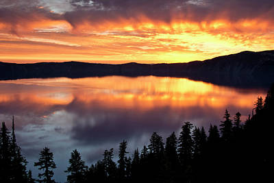Crater Lake National Park Photograph - Crater Lake At Sunrise, Crater Lake by Michel Hersen